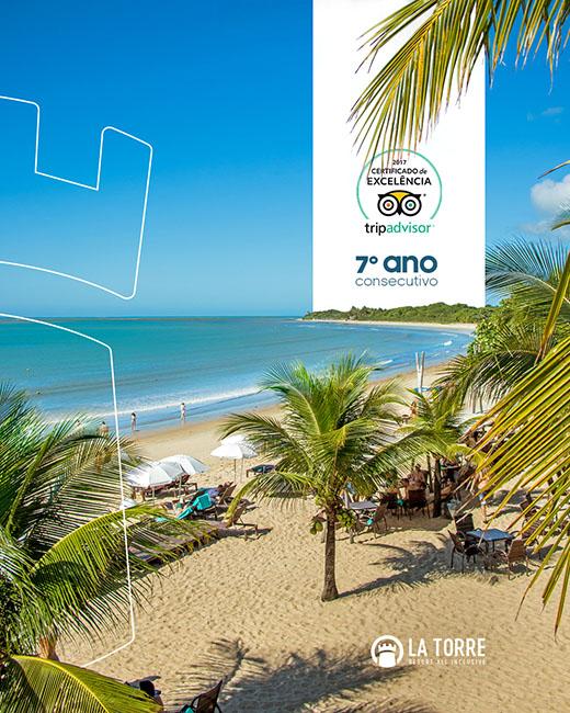 La Torre Resort de Porto Seguro (BA) recebe Certificado de Excelência do TripAdvisor