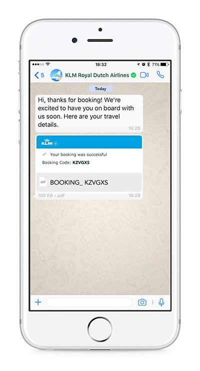 KLM é a primeira companhia aérea com conta corporativa verificada no WhatsApp