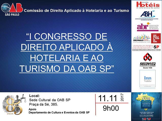 I Congresso de Direito aplicado à Hotelaria será realizado em São Paulo