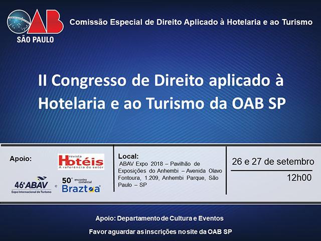 OAB/SP promove II Congresso de Direito aplicado à Hotelaria e ao Turismo