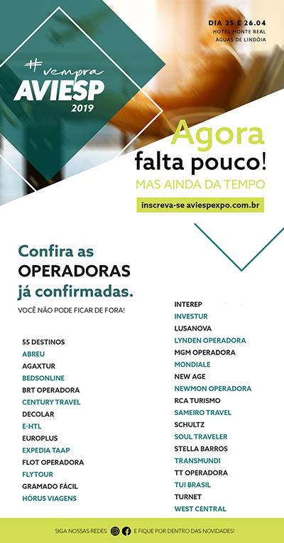 AVIESP 2019 conta com 32 operadoras já confirmadas