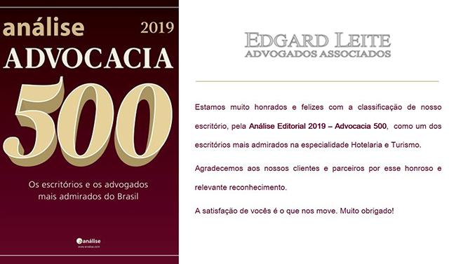 Escritório Edgard Leite Advogados Associados é premiado pela Análise Editorial